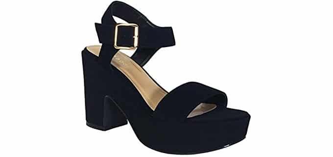 Bamboo Women's Chunky Heel - Dress sandal for Sweaty Feet