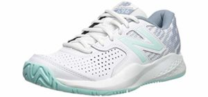 New Balance Women's 696V3 - Hard Court Flat Feet Support Tennis Shoe