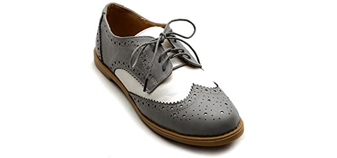 Ollio Women's Wingtip - Comfortable Oxford Shoes for Women