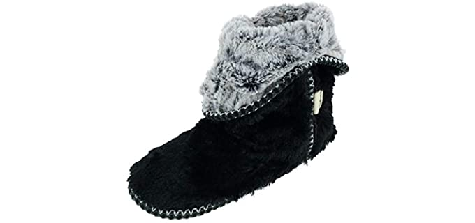 Dearfoams Women's Faux Fur - Bootie Slippers with Rubber Soles