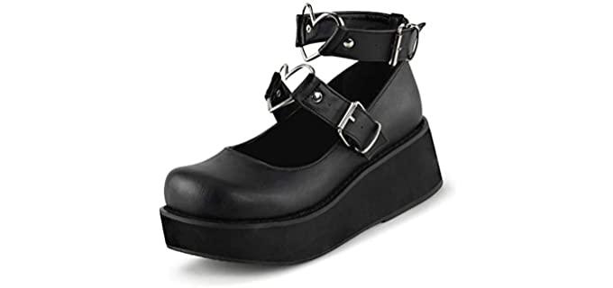 Erocali Women's Mary Jane - Goth Style Shoes
